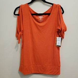 NWT Ariat Tangerine Split Sleeve Tie SS Top - M